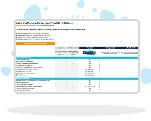 authoring tool comparison template for retailers